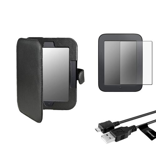 Insten Black Leather Case+Anti-Glare Screen Protector+USB Cable For Nook 2 Simple Touch