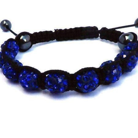 Sparkly Crystals Hand Made Shamballa - Blue Crystal and Hematite Shamballa Bracelet Blue