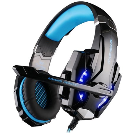 [Newer Version]VersionTech G9000 LED Surround Gaming Headphones Bass Stereo Headset with Mic for PS4 Games (Mac PC Computer Laptop Cell Phone Compatible, Black and