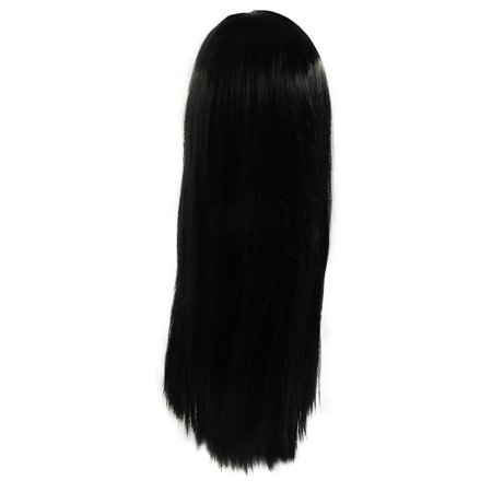 Black 27.6 Inches Long Synthetic Straight Hair Cosplay Party Flat Bangs Wigs (Short Black Wig With Bangs)
