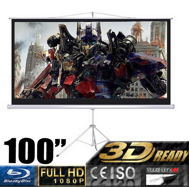 "100"" Projector 16:9 Movie Screen Projection Screen with Foldable Tripod Stand, Manual"