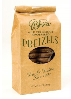 Asher's Milk Chocolate Covered Pretzels 6.5 Ounce Bags, (Pack of 12) by Asher's Confections