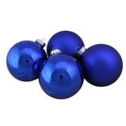 "4-Piece Shiny and Matte Blue Glass Ball Christmas Ornament Set 4"" (100mm)"