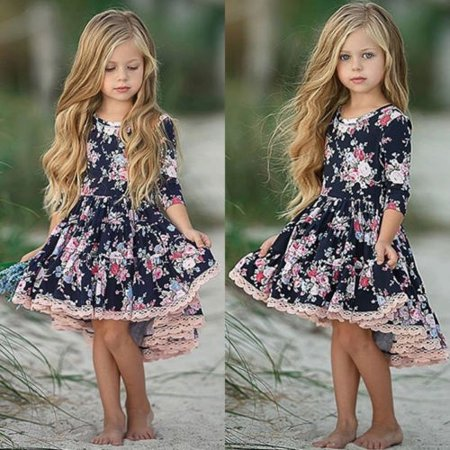 Baby Kids Girls Skirt Toddler Princess Long Sleeve Floral Sundress Party - Toddler Princess Fancy Dress