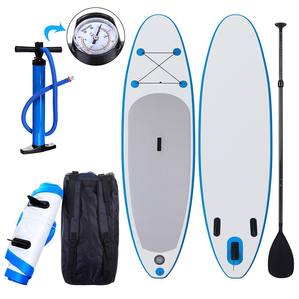 """Hifashion 10' 6"""" Inflatable Stand Up Paddle Board SUP w/ Adjustable Paddle Travel Backpack,Blue Sup Inflatable Paddle Boards"""