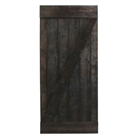 CALHOME 36 in. x 84 in. Dark Walnut Plank Knotty Pine Sliding Barn Wood Interior Door slab ()