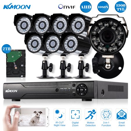 Kkmoon 16 Channel Full Ahd 1080N 720P 2Tb Hard Drive Dvr Security System With 8 720P Outdoor Indoor Infrared Bullet Camera