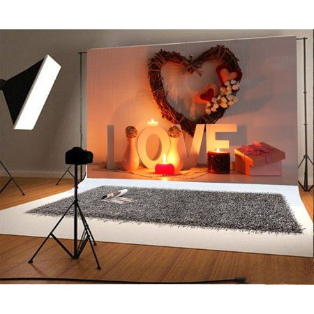 GreenDecor Polyester Love Backdrop 7x5ft Valentine's Day Romantic Heart-shaped Decoration Vase Candles Lover Gift Dating Candlelight Dinner Background Sweet Ann - Cheap Valentine Decorations