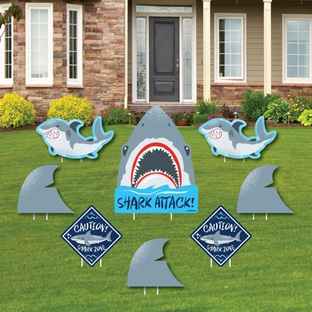 Shark Zone - Yard Sign & Outdoor Lawn Decorations - Jawsome Shark Party or Birthday Party Yard Signs - Set of 8 - Signs Of Birthday