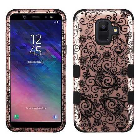 Samsung Galaxy A6 (2018 Model) Phone Case Tuff Hybrid Shockproof Impact Rubber Dual Layer Soft Protective Hard Case Cover Rose Gold Four Leaf Flowers Black Phone Case for Samsung Galaxy A6 ()