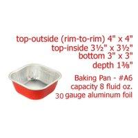 """KitchenDance 4"""" Square Colored Aluminum Foil Dessert Pan with Lids"""