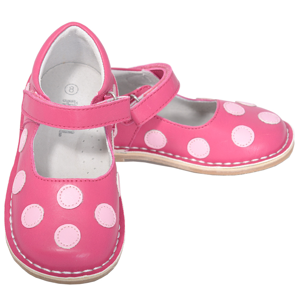 L'Amour Fuchsia Pink Dot Mary Jane Dress Shoe Little Girl 11-12