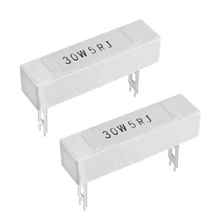 30W 5 Ohm Power Resistor Ceramic Cement Resistor Axial  White 2pcs - image 3 de 3