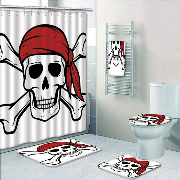 Cross Bones Pirate Skull Print Rug Carpet Shower Curtain  Bathroom Polyester