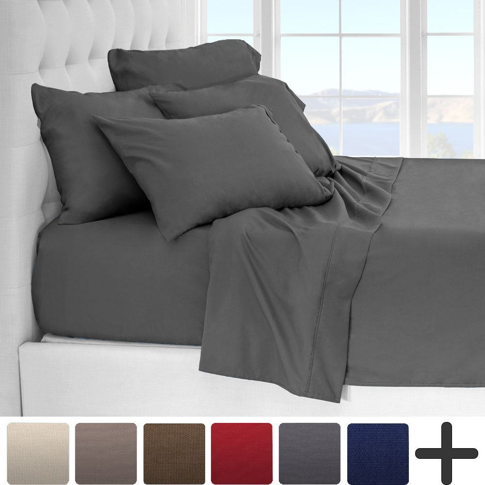 Product Image 6 Piece 1800 Collection Deep Pocket Bed Sheet Set    Ultra Soft Hypoallergenic   2