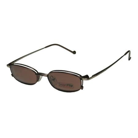 New Smartflip 408 Mens/Womens Designer Full-Rim Mocha / Sand W / Brown Clip-On Lens Ophthalmic With Polaroid Frame Demo Lenses 48-17-140 Sunglass Lens Clip-Ons Spring Hinges (Ophthalmic Glasses)