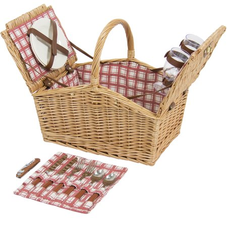 Best Choice Products 2-Person Wicker Double Lid Picnic Basket W/ Flatware, Glasses, Plates- Red/White - Picnic Baskets Wholesale