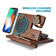 Wood Phone Docking Station Ash Key Holder Wallet Stand Watch Organizer Men Gift Husband Wireless Charging Pad Slim Birthday Nightstand Purse Tablet Compatible with All Qi Devices