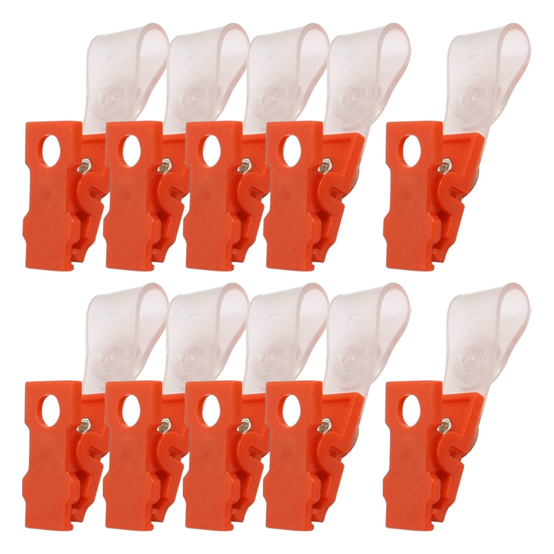 Unique Bargains 10 Pcs Plastic Retractable Badge Clip ID Card Name Tag Office Bank Students Stationery Clear Orange Red