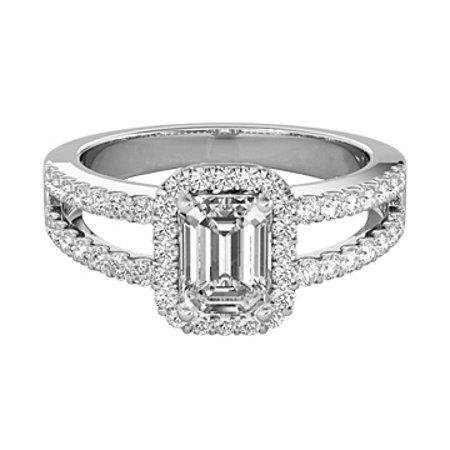 Emerald Cut CZ Halo Engagement Ring in Sterling Silver - image 2 of 7