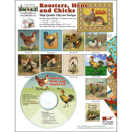 ScrapSMART Roosters, Hens and Chicks Clip-Art CD-ROM, Vintage Images for Scrapbook, Craft, Sewing