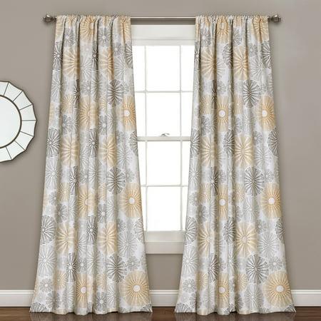 Circle Window - Multi Circles Room-Darkening Window Curtain Set, Yellow/Gray