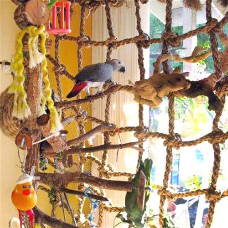 Pet Bird Parrot Parakeet Cage Rope Ladder Net Hammock Swing Hanging Perch Toys