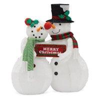 Belham Living Prelit Snowman Couple Christmas Figurine, 34 in