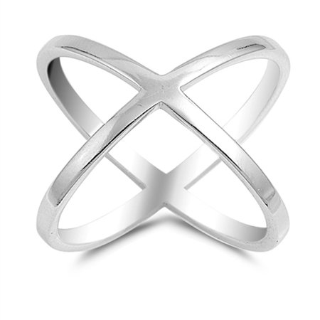 Sterling Silver Women's Thumb Criss Cross Ring (Sizes 5-10) (Ring Size