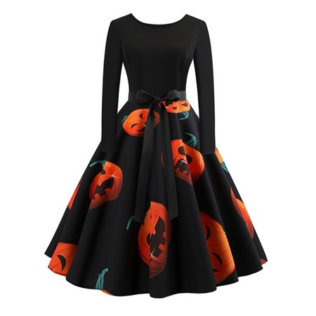 Women's Casual Pumpkin Halloween Swing Vintage Cocktail Party Midi Dresses