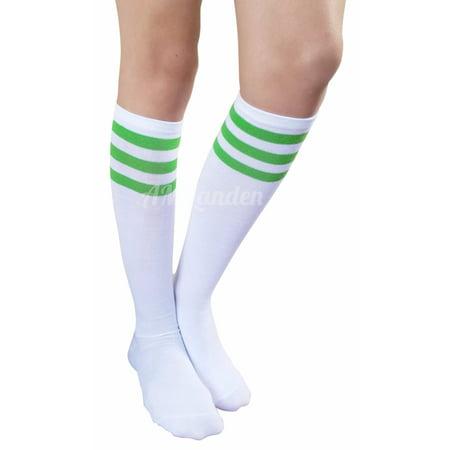 b400775eb AM Landen - AM Landen Womens Stripe Knee High Socks Stripe Socks  Cheerleader Socks Uniform Socks (A. White/Green Stripe) - Walmart.com