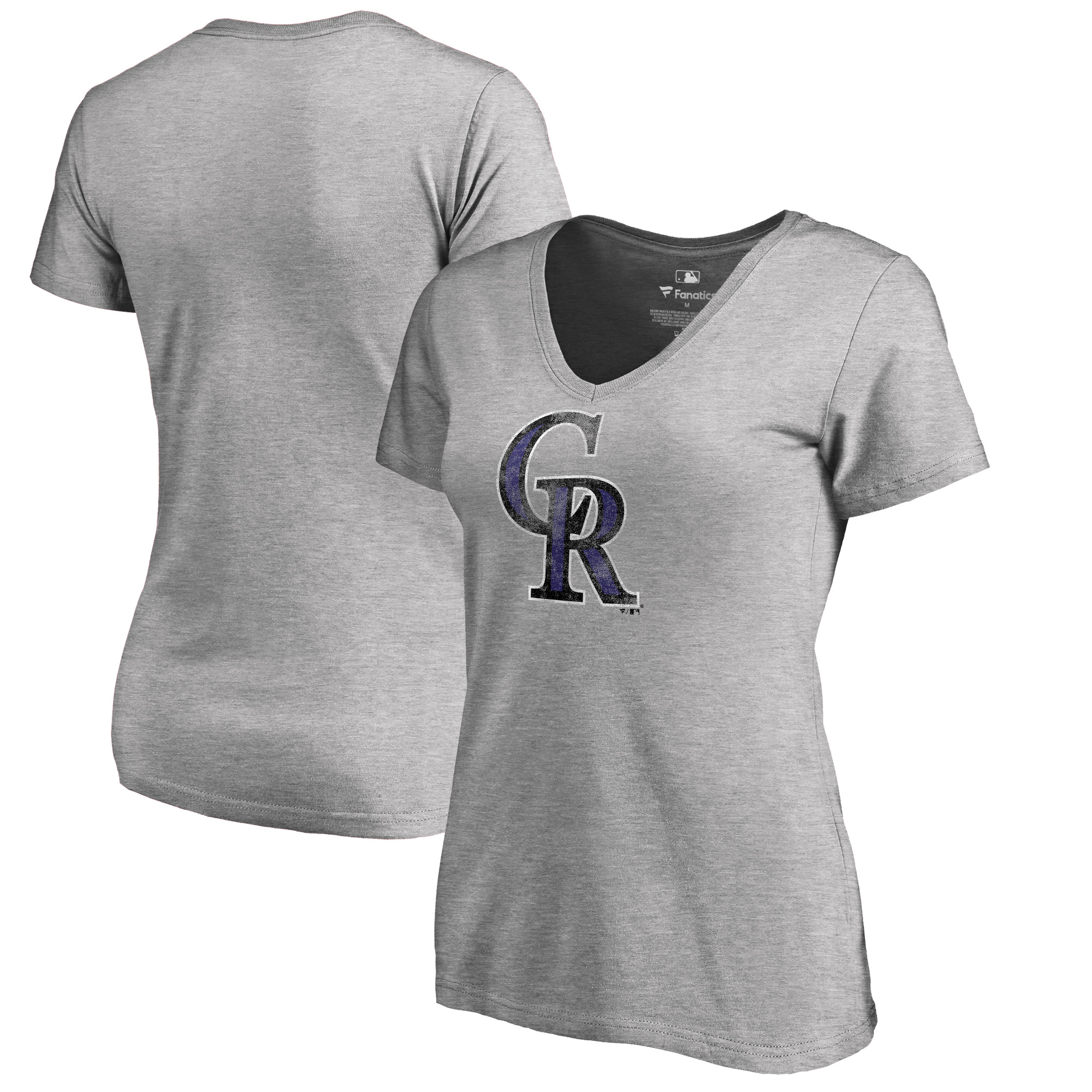 Colorado Rockies Fanatics Branded Women's Plus Size Distressed Team V-Neck T-Shirt - Heathered Gray