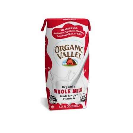 Organic Valley Single Serve Aseptic Milk - Whole - pack of 12 - 6.75oz Cartons