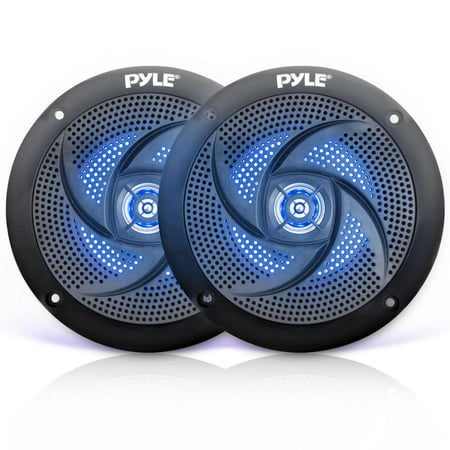 Pyle PLMRS53BL - Waterproof Rated Marine Speakers, Low-Profile Slim Style Speaker Pair with Built-in LED Lights, 5.25''-inch (180 (Best 5.25 Marine Speakers)
