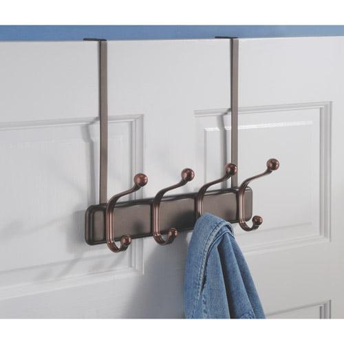 InterDesign York Over the Door 4 - Hook Rack for Coats, Hats, Robes, Towels, Split Bronze