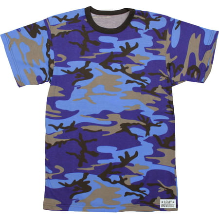 Electric Blue Camouflage Short Sleeve T-Shirt with ARMY UNIVERSE Pin ... e62e0b21668
