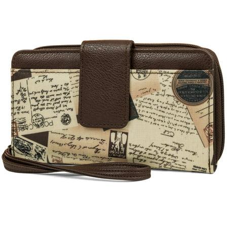 George Women's Postal Print Bulk Wristlet Clutch Wallet