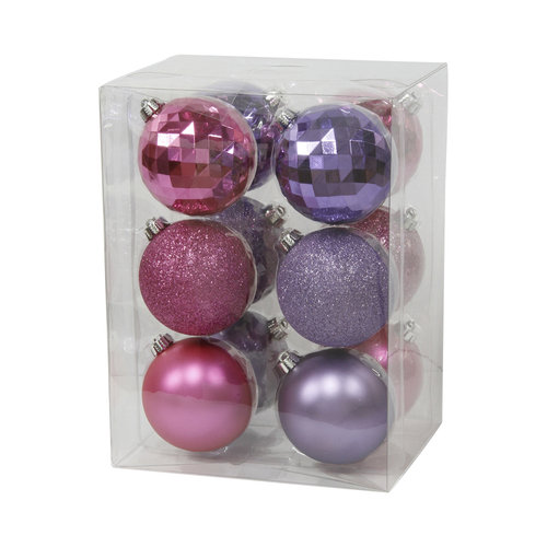 Holiday Time 80mm Round Pink and Purple Disco Christmas Ornaments, Set of 12