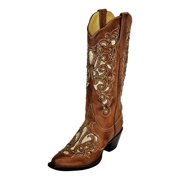 Ferrini Western Boots Womens Southern Belle V Toe Brown 83461-10