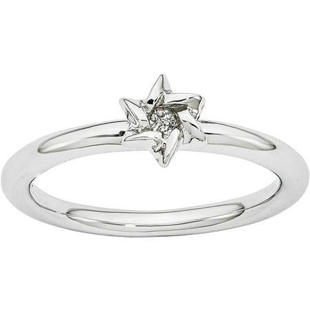 Sterling Silver Rhodium Star of David Ring (Rhodium Star)