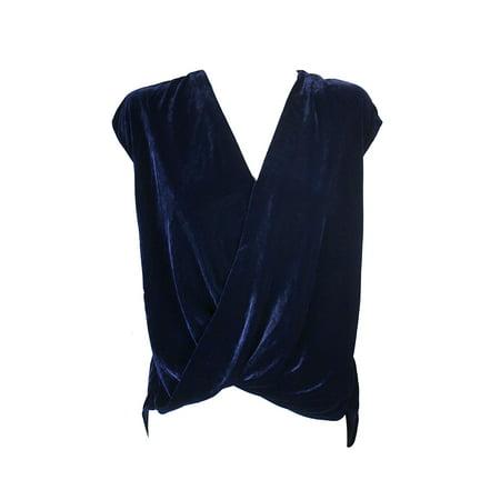 Lauren Ralph Lauren Blue Cap-Sleeve Halpersia Velvet Crossover Blouse L