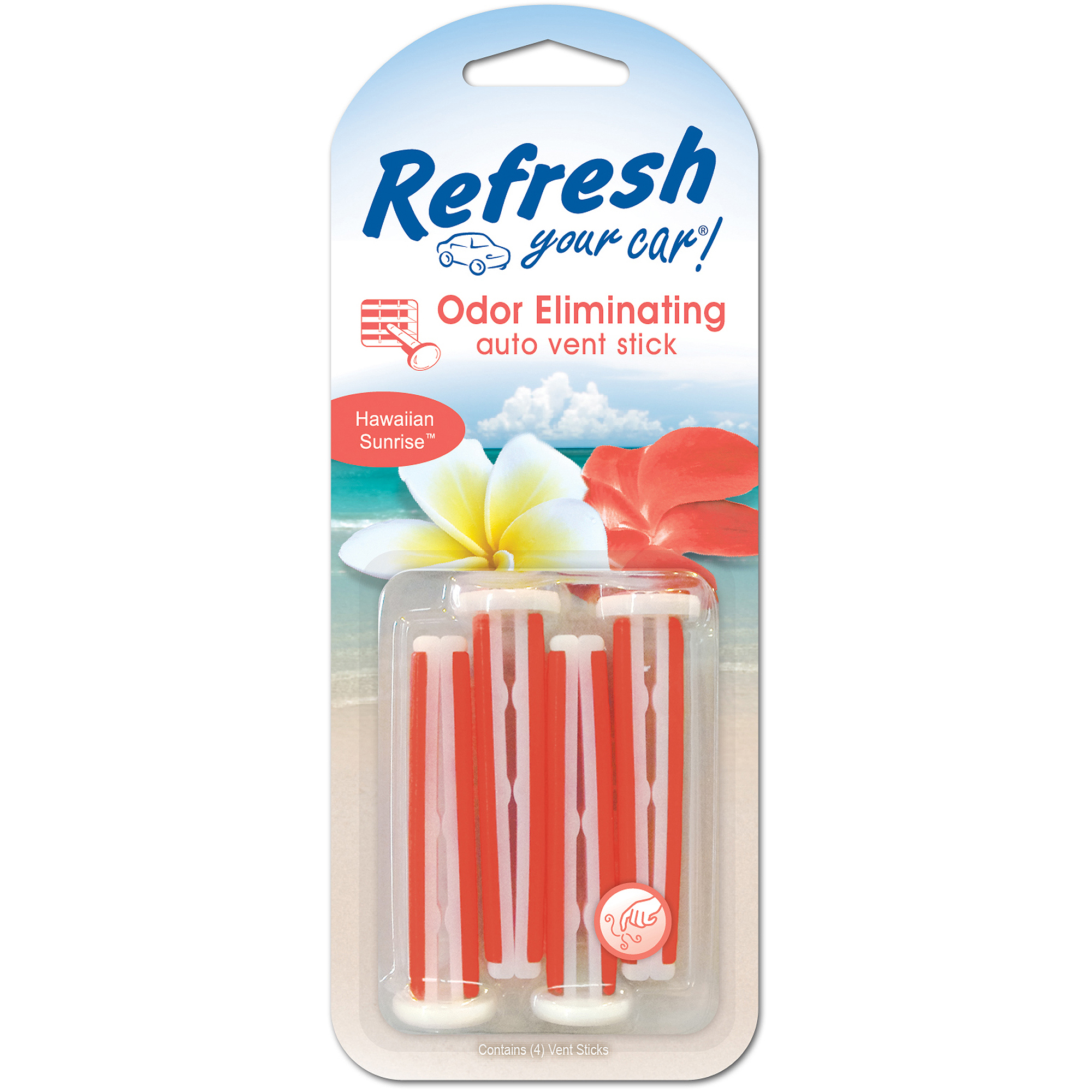 Refresh Your Car Vent Stick, Hawaiian Sunrise, 4 Pack