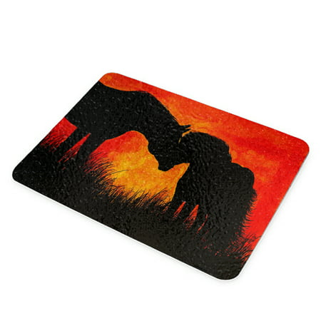 "KuzmarK Glass Cheese Cutting Board 11""x7.75"" - Warmblood Horse and Shetland Pony at Twilight Abstract Horse Art by Denise Every"
