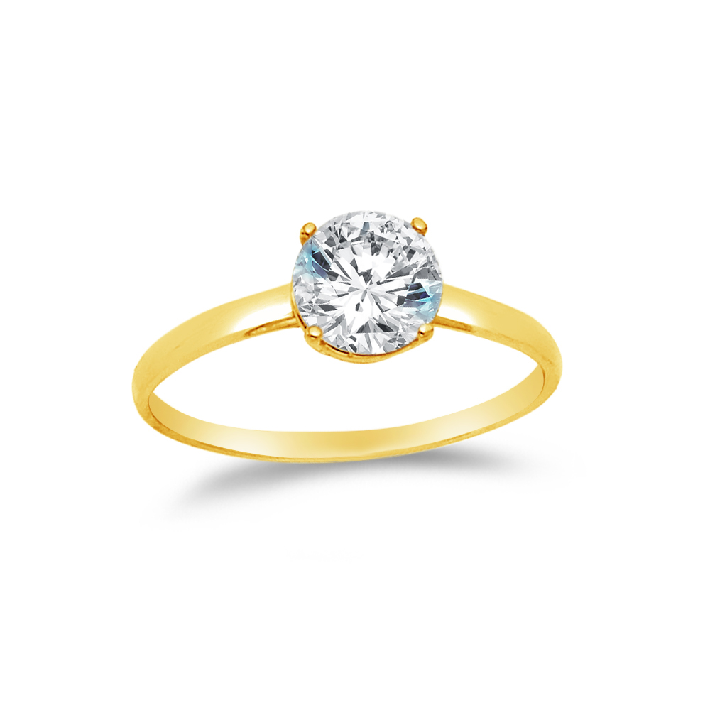 14k Yellow Gold CZ Cubic Zirconia Round Engagement Ring , Size 7