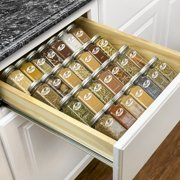 Lynk Professional Spice Rack Tray - 4 Tier Heavy Gauge Steel Drawer Organizer for Kitchen Cabinets, Silver Metallic, Large