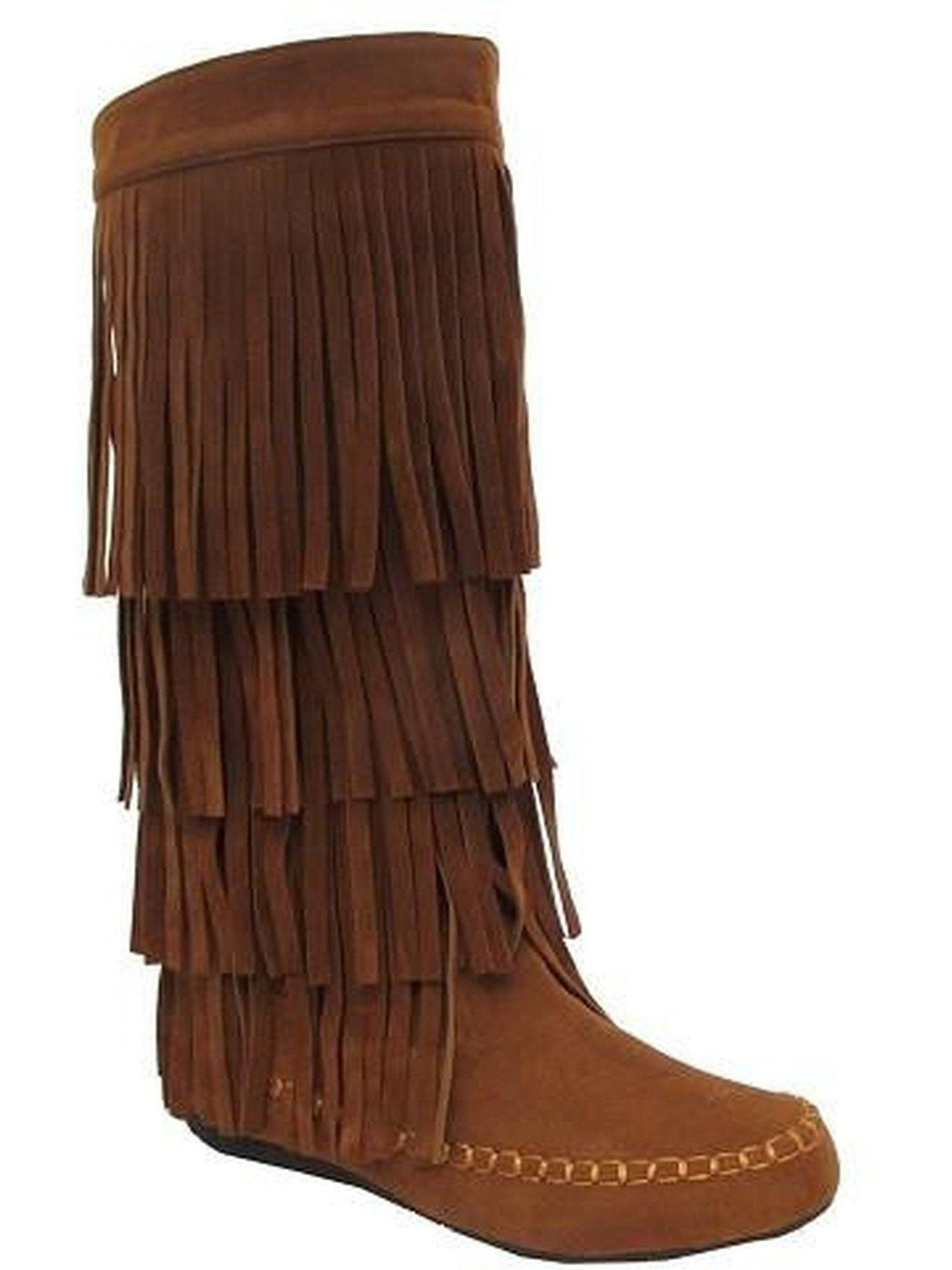 Knee High Fringe Boots, Tan Economical, stylish, and eye-catching shoes