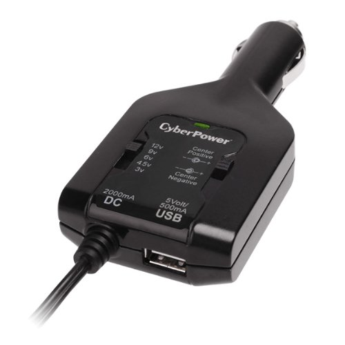 Cyberpower CPUDC1U2000 Universal Power Adapter 3-12v Perp 2.1a Usb 12v Auto Plug 1yr Warr