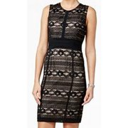 Tommy Hilfiger NEW Black Nude Womens 10 Lace Scoop Neck Sheath Dress