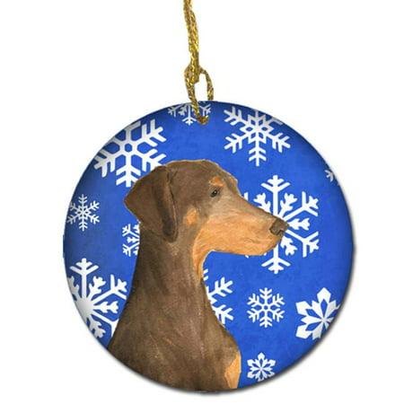 - Doberman Winter Snowflakes Holiday Christmas Ceramic Ornament