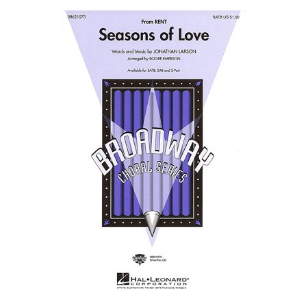 Hal Leonard Seasons of Love (from Rent) (SATB) SATB arranged by Roger Emerson (Rent Karaoke Halloween)